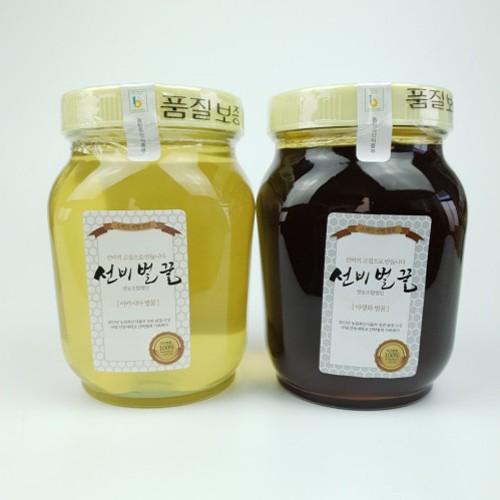 자연벌꿀 100% 아카시아꿀, 야생화꿀 1200g, 선비벌꿀